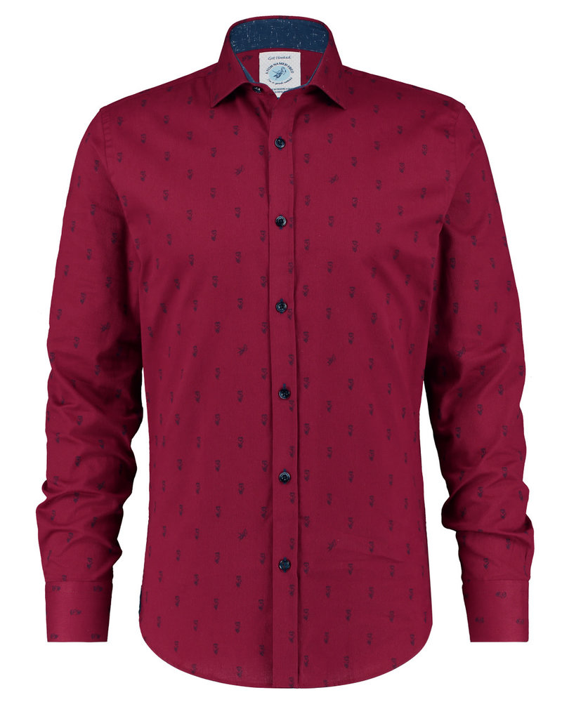 A FISH NAMED FRED Modern Fit Red Cord Tulips Shirt