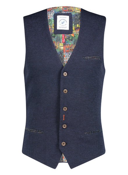 A FISH NAMED FRED Structured Knit Blue Waistcoat