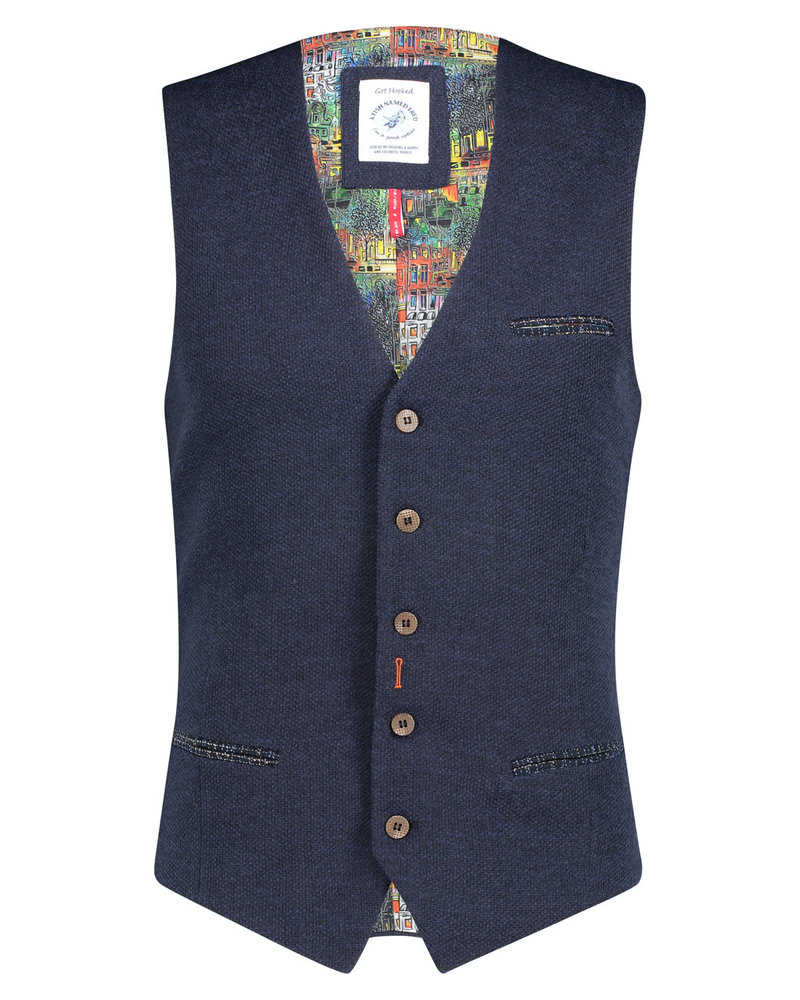 A FISH NAMED FRED Structured Knit Blue Vest