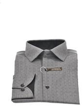 VERSA Modern Fit Grey with Self Diamond Shirt