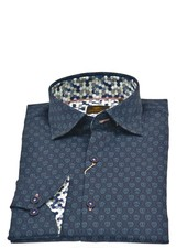 ESSERE Modern Fit Navy with Skulls Shirt