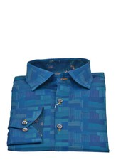 ESSERE Modern Fit Blue Patterned Shirt