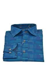 Modern Fit Blue Patterned Shirt