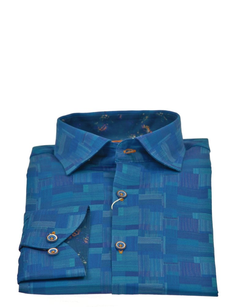 ESSERE Modern Fit Blue Patterned Shirt