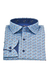 ESSERE Modern Fit Blue with Red Poppies Shirt