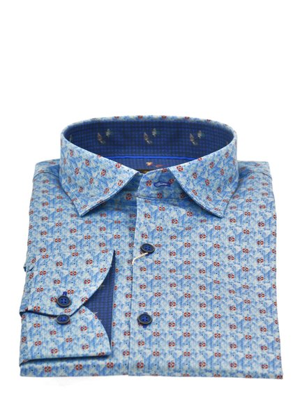 Modern Fit Blue with Red Poppies Shirt