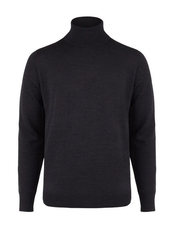 BRUUN & STENGADE Charcoal Wool Turtle Neck Sweater