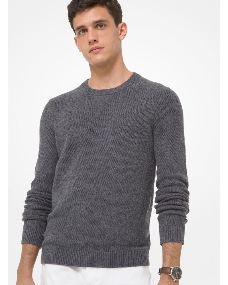 MICHAEL KORS Navy Wool Blend Cable Sweater