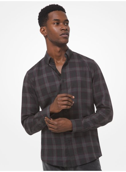 MICHAEL KORS Slim Fit Black and Purple Plaid Shirt