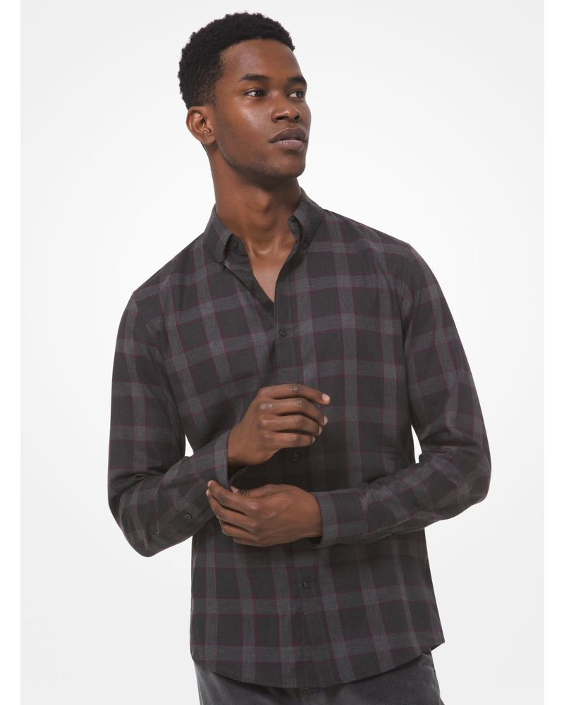 MICHAEL KORS Slim Fit Black and Purple Plaid Shirt