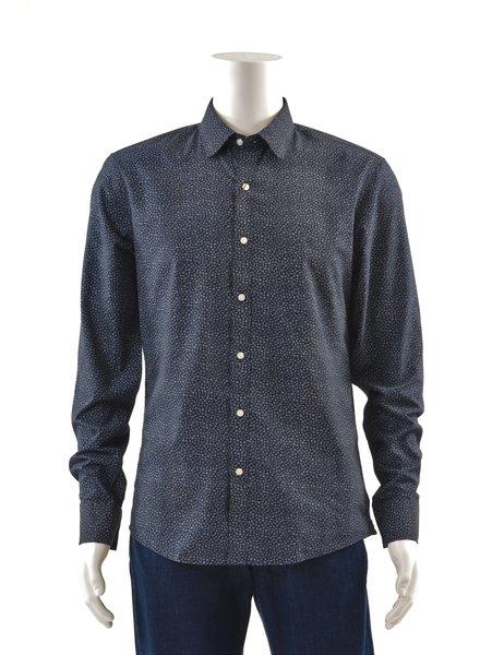 MICHAEL KORS Slim Fit Navy Splatter Dot Shirt