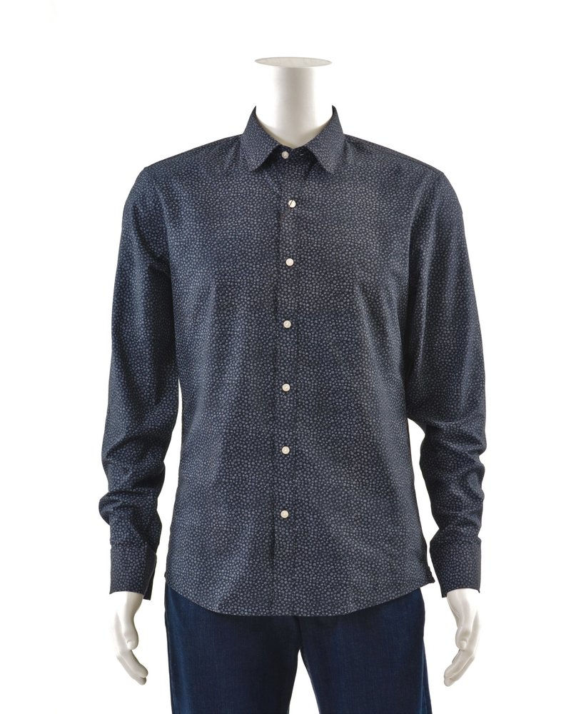 MICHAEL KORS Slim Fit Navy Splatter Dot Shirt