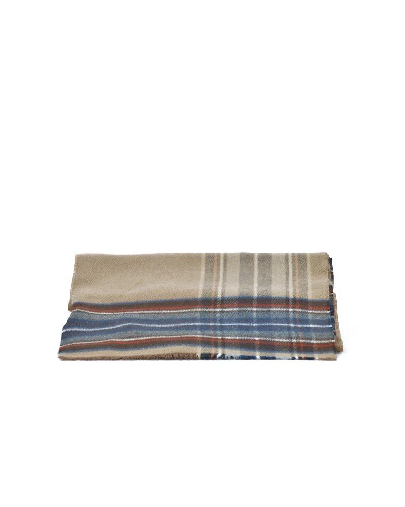 V FRAAS Camel & Grey Wide Stripes Cashmink Scarf