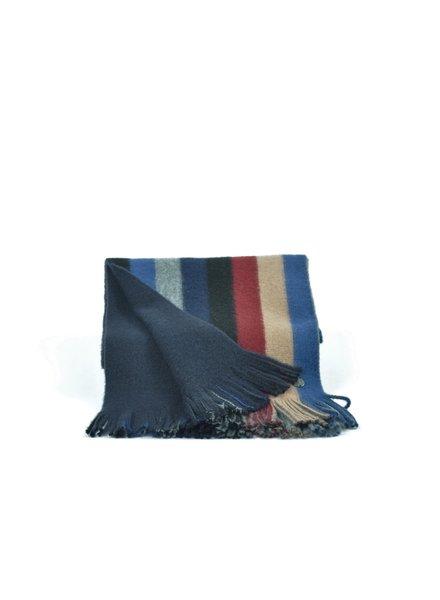 V FRAAS Blue & Red Wide  Stripe Wool Blend Scarf