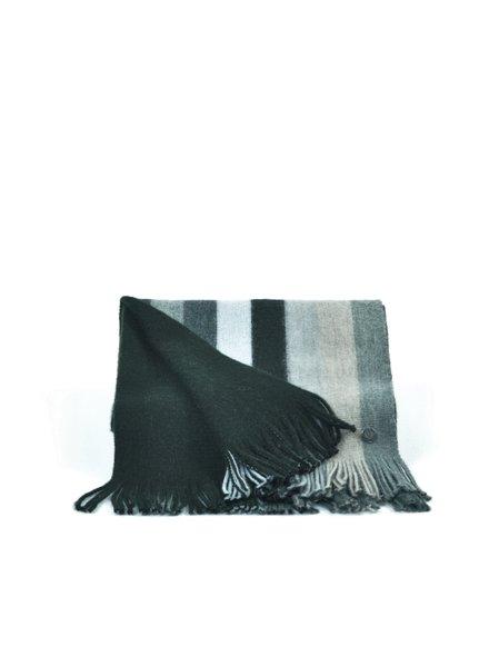 V FRAAS Grey & Black Wide  Stripe Wool Blend Scarf