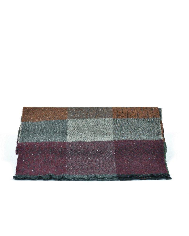 V FRAAS Earth Tone Big Block Wool Blend Scarf