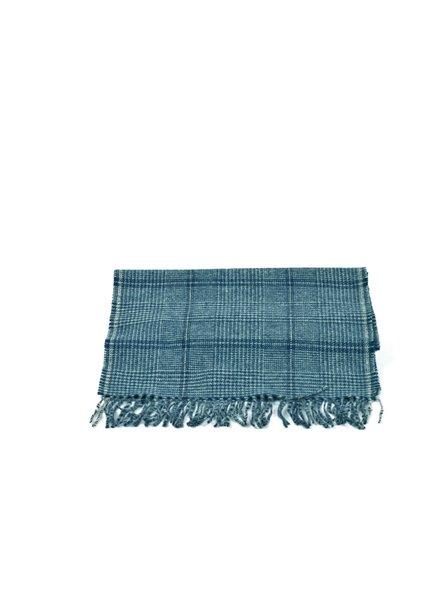 V FRAAS Navy Big Plaid Wool Blend Scarf