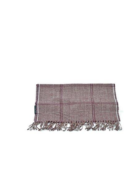 V FRAAS Burgundy Big Plaid Wool Blend Scarf