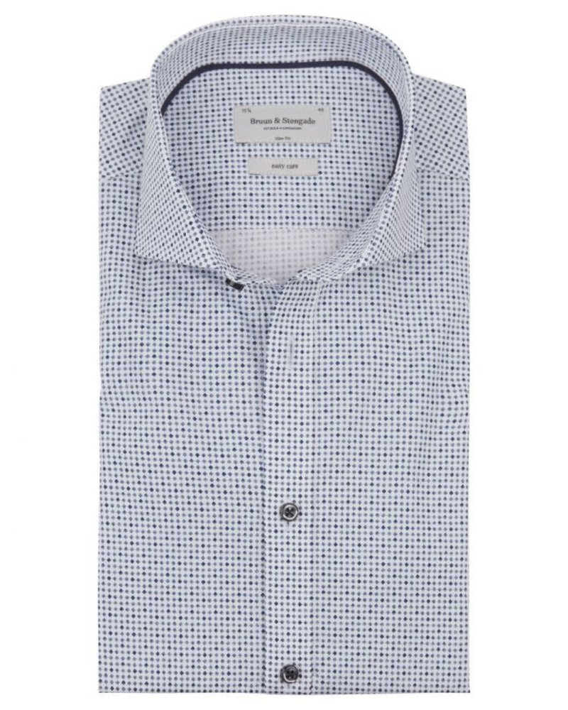 BRUUN & STENGADE Slim Fit Blue White Diamond Shirt