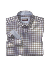 JOHNSTON & MURPHY Classic Fit Brown Navy Zigzag Check Shirt
