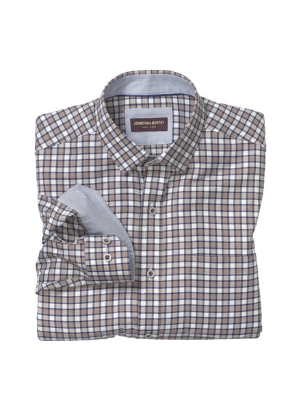JOHNSTON & MURPHY Classic Fit Brown Navy Zigzag Check Shirt