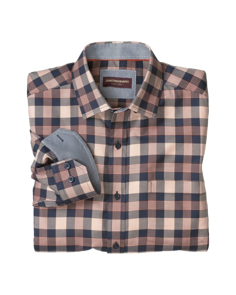 JOHNSTON & MURPHY Classic Fit Houndstooth Check Shirt