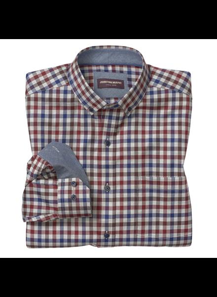 JOHNSTON & MURPHY Classic Fit Heathered Gingham Check Shirt
