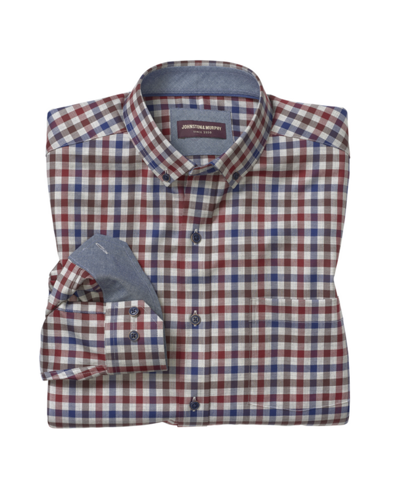JOHNSTON & MURPHY Classic Fit Heathered Gingham Check Shirt