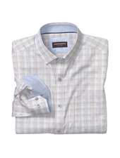 JOHNSTON & MURPHY Classic Fit Brown Blue Minibox Shirt