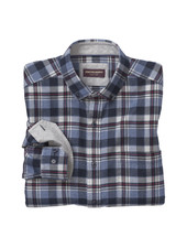 JOHNSTON & MURPHY Classic Fit Brushed Heathered Plaid Shirt
