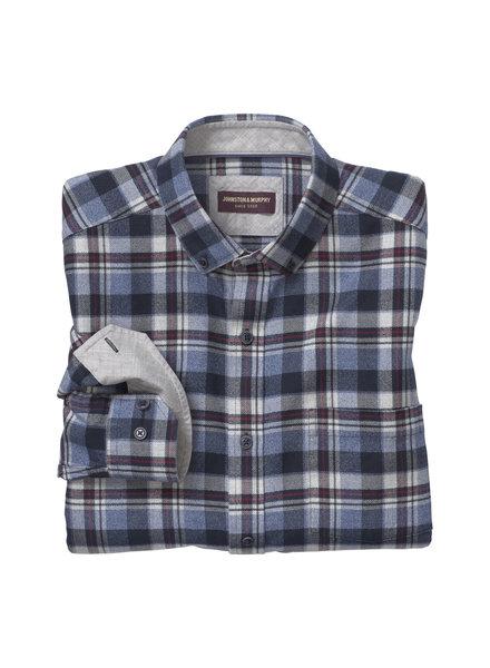 JOHNSTON & MURPHY Classic Fit Brushed Heathered Plaid Shirt