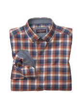 JOHNSTON & MURPHY Classic Fit Rust Navy Check Shirt
