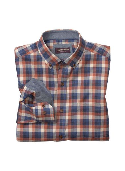 JOHNSTON & MURPHY Classic Fit Rust Navy Check Shirt