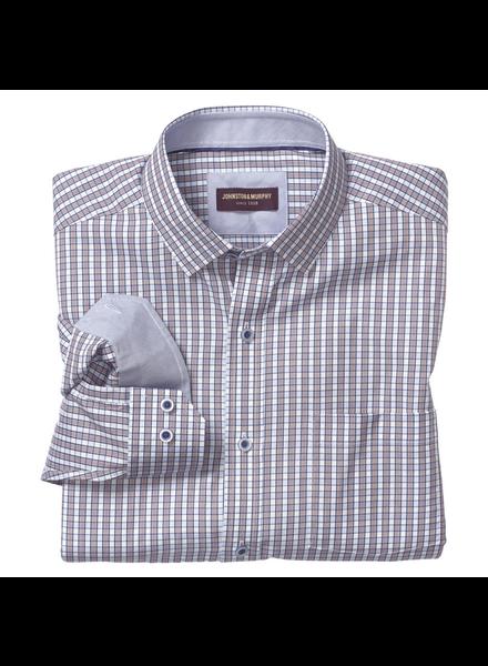 JOHNSTON & MURPHY Classic Fit Navy Burgundy Mini Check Shirt