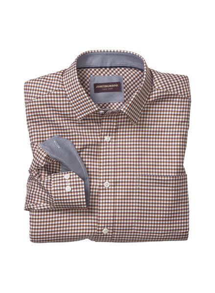 JOHNSTON & MURPHY Classic Fit Dbl Rope Navy/Rust Check Shirt