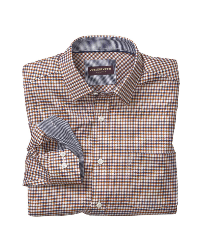 JOHNSTON & MURPHY Classic Fit Dbl Rope Navy/Rust Check Shirt