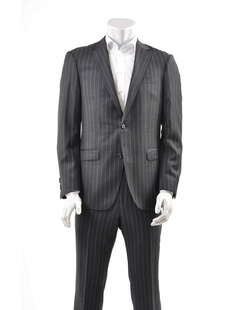 S COHEN Modern Fit Charcoal Pinstripe Suit