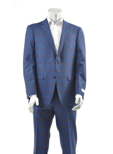 S COHEN Modern Fit Blue with Red Block Suit