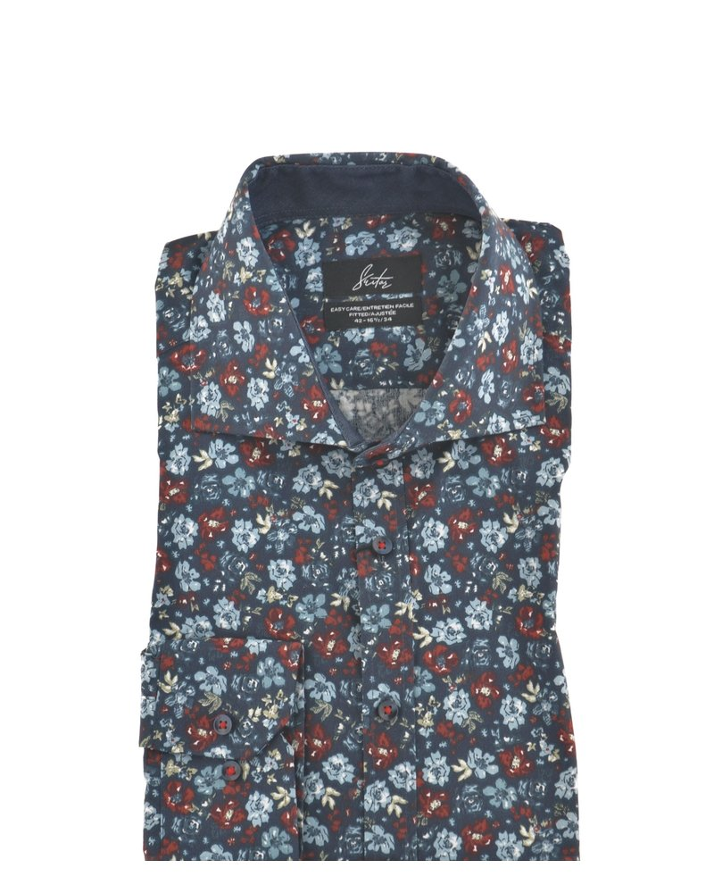 SUITOR Slim Fit Navy with Flowers Shirt