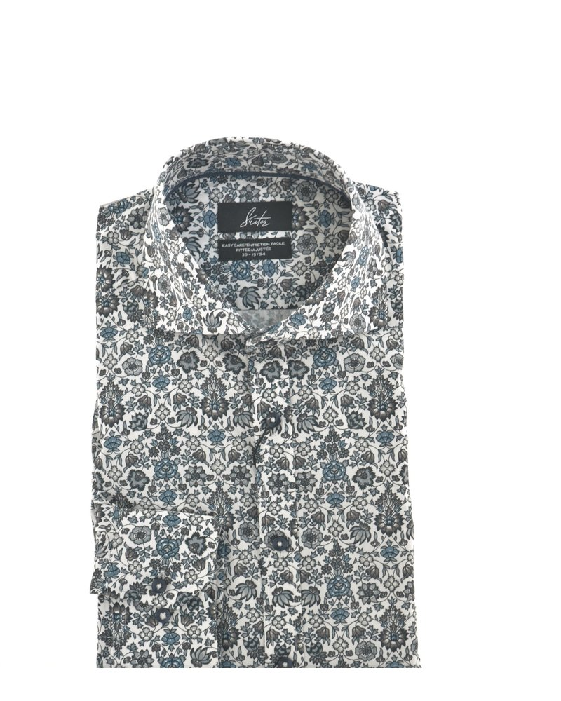 SUITOR Slim Fit White with Grey Flowers Shirt