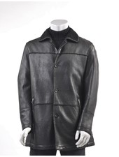 REGENCY Black Faux Shearling Lined 3/4 Coat