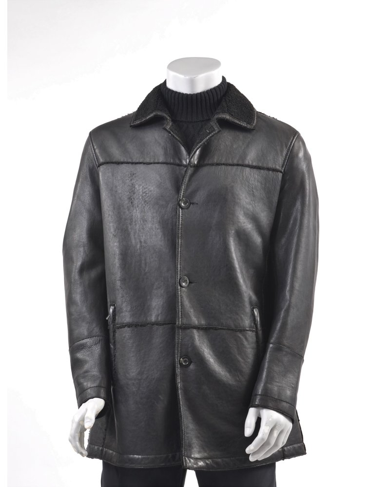 Black Faux Shearling Lined 3/4 Coat