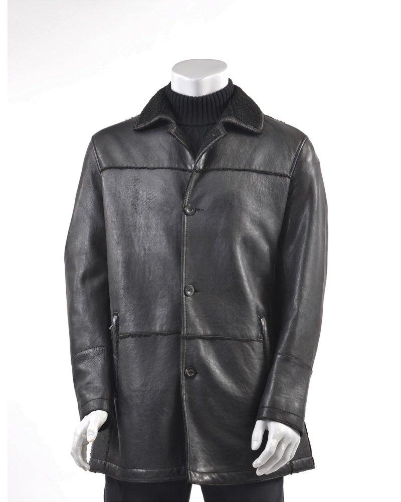 REGENCY Black Faux Shearling Lined 3/4 Coat