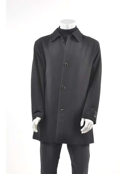 WEATHER REPORT Classic Fit Black Wool Overcoat