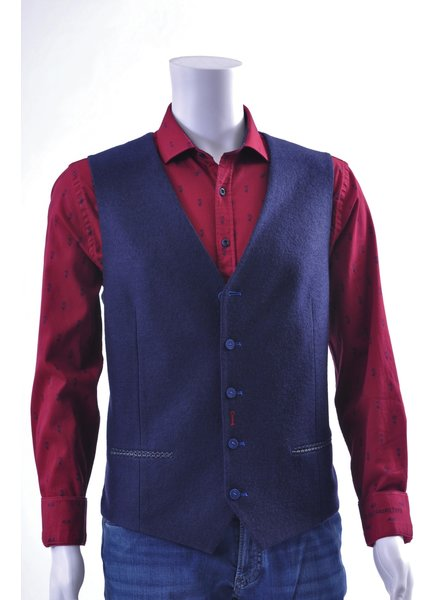 A FISH NAMED FRED Navy Wool Look Vest