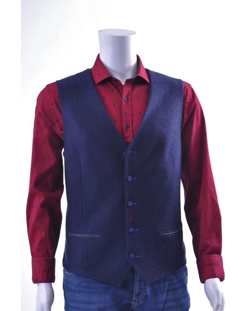A FISH NAMED FRED Navy Wool Look Waistcoat