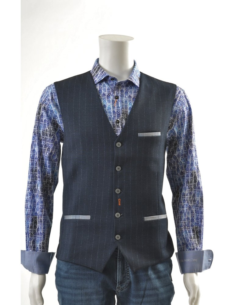 A FISH NAMED FRED Navy Pinstripe Vest