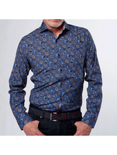 7 DOWNIE Modern Fit Blue Brown Floral Shirt