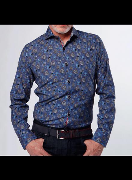 7 DOWNIE Blue Brown Floral Shirt