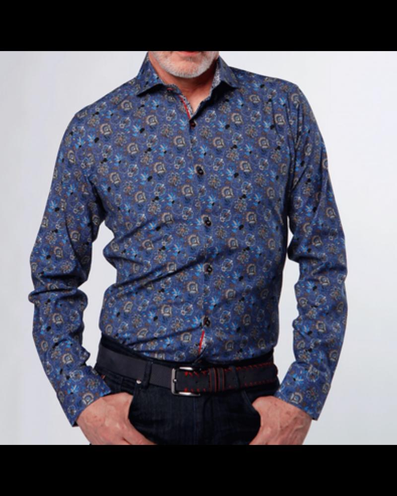 7 DOWNIE Modern Fit Blue Brown Floral Shirt